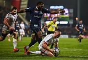 22 November 2019; John Cooney of Ulster scoring his side's second try during the Heineken Champions Cup Pool 3 Round 2 match between Ulster and ASM Clermont Auvergne at Kingspan Stadium in Belfast. Photo by Oliver McVeigh/Sportsfile