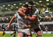 22 November 2019; John Cooney of Ulster celebrates with Marcell Coetzee after scoring his side's second try during the Heineken Champions Cup Pool 3 Round 2 match between Ulster and ASM Clermont Auvergne at Kingspan Stadium in Belfast. Photo by Oliver McVeigh/Sportsfile