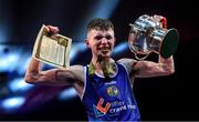 22 November 2019; Dean Clancy of Sean McDermott, Co Leitrim, celebrates after beating Patryk Adamus of Drimnagh, Co Dublin, in their 57kg bout during the IABA Irish National Elite Boxing Championships Finals at the National Stadium in Dublin. Photo by Piaras Ó Mídheach/Sportsfile