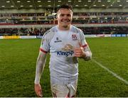 22 November 2019; Jacob Stockdale of Ulster celebrates after the Heineken Champions Cup Pool 3 Round 2 match between Ulster and ASM Clermont Auvergne at Kingspan Stadium in Belfast. Photo by Oliver McVeigh/Sportsfile