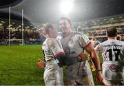 22 November 2019; Marcell Coetzee of Ulster, right, and Luke Marshall celebrate following the Heineken Champions Cup Pool 3 Round 2 match between Ulster and ASM Clermont Auvergne at the Kingspan Stadium in Belfast. Photo by Sam Barnes/Sportsfile