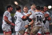 22 November 2019; Will Addison of Ulster, centre, and team-mates celebrate following the Heineken Champions Cup Pool 3 Round 2 match between Ulster and ASM Clermont Auvergne at the Kingspan Stadium in Belfast. Photo by Sam Barnes/Sportsfile