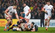 22 November 2019; Marcell Coetzee of Ulster is tackled by Sitaleki Timani of ASM Clermont Auvergne during the Heineken Champions Cup Pool 3 Round 2 match between Ulster and ASM Clermont Auvergne at Kingspan Stadium in Belfast. Photo by Oliver McVeigh/Sportsfile