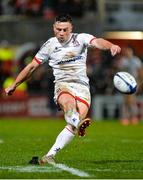 22 November 2019; John Cooney of Ulster kicking a penalty during the Heineken Champions Cup Pool 3 Round 2 match between Ulster and ASM Clermont Auvergne at Kingspan Stadium in Belfast. Photo by Oliver McVeigh/Sportsfile