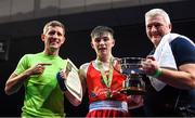 22 November 2019; Jude Gallagher of Two Castles, Co Tyrone, celebrates beating Regan Buckley of St Teresa's, Co Wicklow, in their 52kg bout with his father John Gallagher, right, and his coach Eric Donovan during the IABA Irish National Elite Boxing Championships Finals at the National Stadium in Dublin. Photo by Piaras Ó Mídheach/Sportsfile
