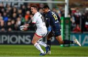 22 November 2019; Billy Burns of Ulster in action against Isaiah Toeava of ASM Clermont Auvergne during the Heineken Champions Cup Pool 3 Round 2 match between Ulster and ASM Clermont Auvergne at Kingspan Stadium in Belfast. Photo by Oliver McVeigh/Sportsfile
