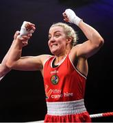 22 November 2019; Christina Desmond of Fr Horgan, Co Cork, celebrates beating Gráinne Walsh of Spartacus, Co Offaly, in their 69kg bout during the IABA Irish National Elite Boxing Championships Finals at the National Stadium in Dublin. Photo by Piaras Ó Mídheach/Sportsfile