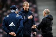 23 November 2019; Leinster head coach Leo Cullen, centre, in conversation with Leinster backs coach Felipe Contepomi, left, and Lyon head coach Pierre Mignoni ahead of the Heineken Champions Cup Pool 1 Round 2 match between Lyon and Leinster at Matmut Stadium in Lyon, France. Photo by Ramsey Cardy/Sportsfile