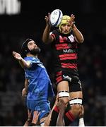 23 November 2019; Virgile Bruni of Lyon wins possession in the lineout Scott Fardy of Leinster during the Heineken Champions Cup Pool 1 Round 2 match between Lyon and Leinster at Matmut Stadium in Lyon, France. Photo by Ramsey Cardy/Sportsfile