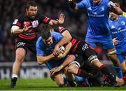23 November 2019; Jonathan Sexton of Leinster is tackled by Julien Puricelli, left, and Carl Fearns of Lyon during the Heineken Champions Cup Pool 1 Round 2 match between Lyon and Leinster at Matmut Stadium in Lyon, France. Photo by Ramsey Cardy/Sportsfile