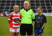 23 November 2019; Referee Mel Kenny with Naomh Pól captain Aine Tubridy and Naomh Ciaran captain Eimear Flynn prior to the All-Ireland Ladies Intermediate Club Championship Final match between Naomh Ciaran and Naomh Pól at Kingspan Breffni in Cavan. Photo by Harry Murphy/Sportsfile
