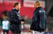 23 November 2019; Simon Zebo of Racing 92 with backs coach Mike Prendergast, left, prior to the Heineken Champions Cup Pool 4 Round 2 match between Munster and Racing 92 at Thomond Park in Limerick. Photo by Brendan Moran/Sportsfile