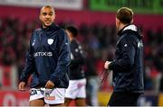 23 November 2019; Simon Zebo of Racing 92 with backs coach Mike Prendergast prior to the Heineken Champions Cup Pool 4 Round 2 match between Munster and Racing 92 at Thomond Park in Limerick. Photo by Brendan Moran/Sportsfile