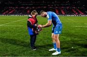 23 November 2019; Jordan Larmour of Leinster signs an autograph following the Heineken Champions Cup Pool 1 Round 2 match between Lyon and Leinster at Matmut Stadium in Lyon, France. Photo by Ramsey Cardy/Sportsfile