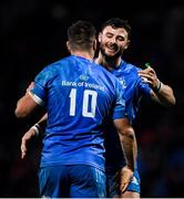 23 November 2019; Robbie Henshaw, right, and Jonathan Sexton celebrate a try which was subsequently disallowed during the Heineken Champions Cup Pool 1 Round 2 match between Lyon and Leinster at Matmut Stadium in Lyon, France. Photo by Ramsey Cardy/Sportsfile