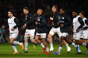 23 November 2019; Racing 92 players including Donnacha Ryan and Simon Zebo of Racing 92 warm up prior to the Heineken Champions Cup Pool 4 Round 2 match between Munster and Racing 92 at Thomond Park in Limerick. Photo by Diarmuid Greene/Sportsfile