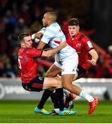 23 November 2019; Simon Zebo of Racing 92 is tackled by JJ Hanrahan of Munster during the Heineken Champions Cup Pool 4 Round 2 match between Munster and Racing 92 at Thomond Park in Limerick. Photo by Diarmuid Greene/Sportsfile