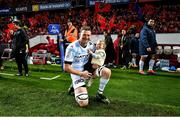 23 November 2019; Donnacha Ryan of Racing 92 with his daughter Rami prior to the Heineken Champions Cup Pool 4 Round 2 match between Munster and Racing 92 at Thomond Park in Limerick. Photo by Brendan Moran/Sportsfile