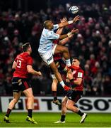 23 November 2019; Andrew Conway of Munster wins possession ahead of Simon Zebo of Racing 92 during the Heineken Champions Cup Pool 4 Round 2 match between Munster and Racing 92 at Thomond Park in Limerick. Photo by Diarmuid Greene/Sportsfile