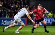 23 November 2019; John Ryan of Munster in action against Dominic Bird of Racing 92 during the Heineken Champions Cup Pool 4 Round 2 match between Munster and Racing 92 at Thomond Park in Limerick. Photo by Brendan Moran/Sportsfile