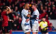 23 November 2019; Simon Zebo of Racing 92, left, reacts after Finn Russell of Racing 92, right, goes over to score his side's first try during the Heineken Champions Cup Pool 4 Round 2 match between Munster and Racing 92 at Thomond Park in Limerick. Photo by Sam Barnes/Sportsfile