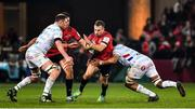 23 November 2019; JJ Hanrahan of Munster is tackled by Donnacha Ryan and Boris Palu of Racing 92 during the Heineken Champions Cup Pool 4 Round 2 match between Munster and Racing 92 at Thomond Park in Limerick. Photo by Brendan Moran/Sportsfile