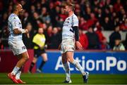 23 November 2019; Finn Russell of Racing 92, right, celebrates after scoring his side's first try with Simon Zebo during the Heineken Champions Cup Pool 4 Round 2 match between Munster and Racing 92 at Thomond Park in Limerick. Photo by Sam Barnes/Sportsfile