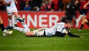 23 November 2019; Finn Russell of Racing 92 goes over to score his side's first try during the Heineken Champions Cup Pool 4 Round 2 match between Munster and Racing 92 at Thomond Park in Limerick. Photo by Sam Barnes/Sportsfile