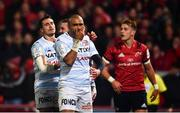 23 November 2019; Simon Zebo of Racing 92, reacts after Finn Russell, behind, scores his side's first try during the Heineken Champions Cup Pool 4 Round 2 match between Munster and Racing 92 at Thomond Park in Limerick. Photo by Sam Barnes/Sportsfile