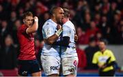 23 November 2019; Simon Zebo of Racing 92, reacts after Finn Russell, right, scores his side's first try during the Heineken Champions Cup Pool 4 Round 2 match between Munster and Racing 92 at Thomond Park in Limerick. Photo by Sam Barnes/Sportsfile