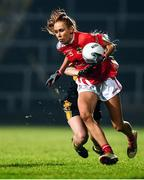 23 November 2019; Olivia Divilly of Kilkerrin-Clonberne is tackled by Kathryn Coakley of Mourneabbey during the All-Ireland Ladies Senior Club Championship Final match between Kilkerrin-Clonberne and Mourneabbey at LIT Gaelic Grounds in Limerick. Photo by Eóin Noonan/Sportsfile