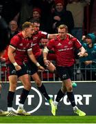 23 November 2019; Keith Earls of Munster, right, is congratulated by team-mates Mike Haley and JJ Hanrahan after scoring his side's first try during the Heineken Champions Cup Pool 4 Round 2 match between Munster and Racing 92 at Thomond Park in Limerick. Photo by Diarmuid Greene/Sportsfile