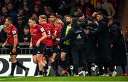 23 November 2019; Keith Earls of Munster is congratulated by team-mates including Conor Murray after scoring his side's first try during the Heineken Champions Cup Pool 4 Round 2 match between Munster and Racing 92 at Thomond Park in Limerick. Photo by Diarmuid Greene/Sportsfile