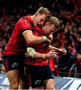 23 November 2019; Keith Earls of Munster celebrates after scoring his side's first try with team-mate Mike Haley during the Heineken Champions Cup Pool 4 Round 2 match between Munster and Racing 92 at Thomond Park in Limerick. Photo by Brendan Moran/Sportsfile