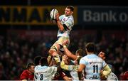 23 November 2019; Donnacha Ryan of Racing 92 wins possession in a lineout during the Heineken Champions Cup Pool 4 Round 2 match between Munster and Racing 92 at Thomond Park in Limerick. Photo by Diarmuid Greene/Sportsfile