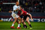 23 November 2019; Simon Zebo of Racing 92 is tackled by Chris Farrell of Munster during the Heineken Champions Cup Pool 4 Round 2 match between Munster and Racing 92 at Thomond Park in Limerick. Photo by Diarmuid Greene/Sportsfile