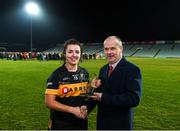 23 November 2019; Laura Fitzgerald of Mourneabbey receives the Player of the Match award from Liam McDonagh, LGFA Vice-President, following the All-Ireland Ladies Senior Club Football Championship Final between Kilkerrin-Clonberne and Mourneabbey, at the LIT Gaelic Grounds, Limerick Photo by Eóin Noonan/Sportsfile