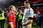 23 November 2019; Keith Earls of Munster, left, and Donnacha Ryan of Racing 92 after the Heineken Champions Cup Pool 4 Round 2 match between Munster and Racing 92 at Thomond Park in Limerick. Photo by Brendan Moran/Sportsfile