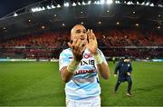 23 November 2019; Simon Zebo of Racing 92 applauds the fans after the Heineken Champions Cup Pool 4 Round 2 match between Munster and Racing 92 at Thomond Park in Limerick. Photo by Brendan Moran/Sportsfile