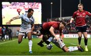 23 November 2019; Andrew Conway of Munster is tackled by Juan Imhoff, left, and Teddy Iribaren of Racing 92 during the Heineken Champions Cup Pool 4 Round 2 match between Munster and Racing 92 at Thomond Park in Limerick. Photo by Sam Barnes/Sportsfile