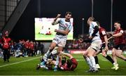 23 November 2019; Juan Imhoff of Racing 92 celebrates disposessing Andrew Conway of Munster during the Heineken Champions Cup Pool 4 Round 2 match between Munster and Racing 92 at Thomond Park in Limerick. Photo by Sam Barnes/Sportsfile
