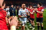 23 November 2019; Simon Zebo of Racing 92 is applauded off the pitch by Munster players after the Heineken Champions Cup Pool 4 Round 2 match between Munster and Racing 92 at Thomond Park in Limerick. Photo by Diarmuid Greene/Sportsfile