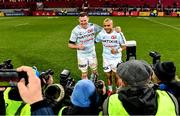 23 November 2019; Donnacha Ryan, left, and Simon Zebo of Racing 92 pose for a photograph following the Heineken Champions Cup Pool 4 Round 2 match between Munster and Racing 92 at Thomond Park in Limerick. Photo by Sam Barnes/Sportsfile