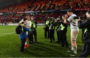 23 November 2019; Donnacha Ryan of Racing 92, right, takes a photograph of Simon Zebo with photographer Bridget Delaney from Tipperary  following the Heineken Champions Cup Pool 4 Round 2 match between Munster and Racing 92 at Thomond Park in Limerick. Photo by Sam Barnes/Sportsfile