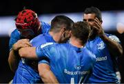 23 November 2019; Leinster players celebrate a try during the Heineken Champions Cup Pool 1 Round 2 match between Lyon and Leinster at Matmut Stadium in Lyon, France. Photo by Ramsey Cardy/Sportsfile
