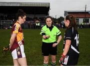24 November 2019; Referee Siobhan Coyle flips the coin infront of Marie Larkin of MacHale Rovers and Eileen Lyons of Donoughmore prior to the All-Ireland Ladies Junior Club Championship Final match between Donoughmore and MacHale Rovers at Duggan Park in Ballinasloe, Co Galway. Photo by Harry Murphy/Sportsfile