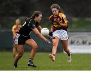 24 November 2019; Caoimhe Walsh of MacHale Rovers in action against Jenny Brew Dinan of Donoughmore during the All-Ireland Ladies Junior Club Championship Final match between Donoughmore and MacHale Rovers at Duggan Park in Ballinasloe, Co Galway. Photo by Harry Murphy/Sportsfile
