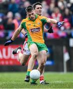 24 November 2019; Liam Silke of Corofin shoots to score his side's first goal as Anthony Butler of Pádraig Pearses closes in during the AIB Connacht GAA Football Senior Club Football Championship Final match between Corofin and Pádraig Pearses at Tuam Stadium in Tuam, Galway. Photo by Piaras Ó Mídheach/Sportsfile