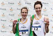 24 November 2019; Fionnuala McCormack, left, with her sister Una Britton of Kilcoole A.C., Co. Wicklow, after winning gold and bronze medals in the Senior Women event during the Irish Life Health National Senior, Junior & Juvenile Even Age Cross Country Championships at the National Sports Campus Abbotstown in Dublin. Photo by Sam Barnes/Sportsfile