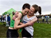 24 November 2019; Fionnuala McCormack, right, congratulates her sister Una Britton, both of Kilcoole A.C., Co. Wicklow, after winning gold and bronze medals in the Senior Women event during the Irish Life Health National Senior, Junior & Juvenile Even Age Cross Country Championships at the National Sports Campus Abbotstown in Dublin. Photo by Sam Barnes/Sportsfile